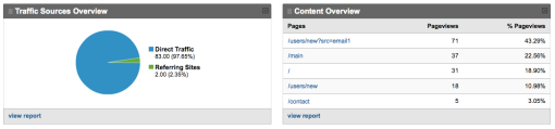 Traffic sources and top pages in Google Analytics.